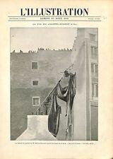 Ballon Dirigeable Alberto Santos-Dumont immeuble quai Passy Paris GRAVURE 1901