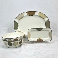 4 PIECE SET NORITAKE AMBIANCE MOCHA JAVA PLATTER SERVING BOWLS RELISH TRAY