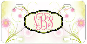 Personalized Monogram License Plate Lime Pink Classy Floral Custom Car Tag L679