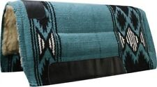 """32""""x34"""" TEAL Wool Top Western Cutter Style Saddle Pad w/ Navajo Design! NEW TACK"""