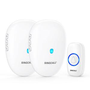 SINGCALL Wireless Waterproof Door Bell 2 Receivers 1 Doorbell Button