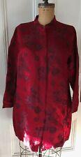 Citron Santa Monica Silk Brocade Tunic Jacket Size Xl Pekingese Dog Asian Red