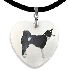 Karelian Bear Dog Natural Mother Of Pearl Heart Pendant Necklace Chain Pp58