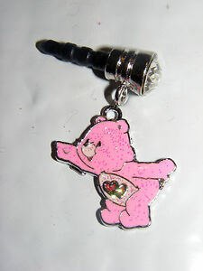 Pink care bear red Hearts belly charm cell phone dust jewelry