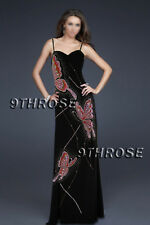MS. GORGEOUS! BUTTERFLY BEADED BODY-HUGGING BLACK FORMAL/EVENING/PROM AU 6/US 4