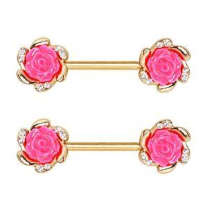 """CLEAR CZ PINK ROSE FLOWERS NIPPLE PIERCING RINGS BARBELLS 14g 9/16"""" (PAIR)"""