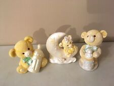 Teddy Bear Baby Nursery Decor Figurines With Bottles and Moon Boy or Girl