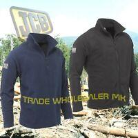 JCB Fleece Jacket Top Mens  Workwear Full Zip Black or 1/4 Zip Navy Blue