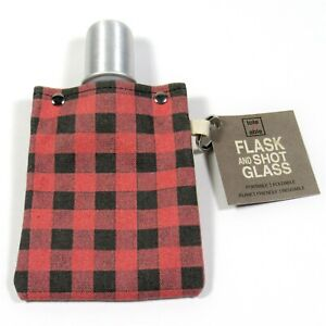 TOTE+ABLE Buffalo Plaid 4 oz. Flask and Shot Glass Eco-Friendly Red Made is USA