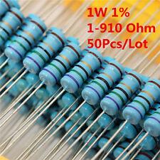 50Pcs 1W 1 Watt Metal Film Resistor ± 1% 56 120 150 180 430 470 680 1-910 Ω Ohm