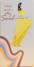 Music bookmark, Harp,  Gold-plated Metal Art, Award or Gift