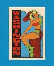 "VINTAGE ORIGINAL 1948 SOUVENIR ""WASHINGTON"" COWGIRL PINUP TRAVEL WATER DECAL ART"