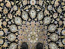 10x13 Vintage Blue Wool Rug Hand-Knotted antique oriental carpet handmade 10x14