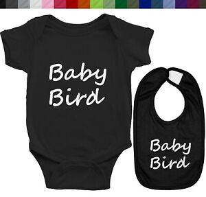 Infant Baby Rib Bodysuit Romper Clothes and Bib Newborn Gift Quote Baby Bird