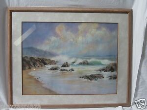 Huber signed 1990 pastel English seascape painting fellow RSA EC framed RARE!