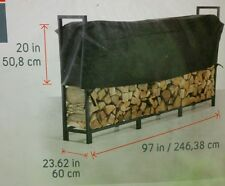 NICE - Firewood 8 foot Log Rack Canvas Black Cover Outdoor OR Indoor Protection!