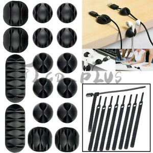 26Pcs Cable Clips Self-Adhesive Cord Management Wire Tie Holder Organizer Clamps