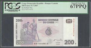 Congo Democratic Republic 200 Francs 31-7-2007 P99a Uncirculated Graded 67