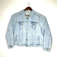 Sonoma Womens Everyday Jean Jacket Blue Buttons Stretch Collared Pockets Plus 3X