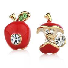 1 Pair Red Earring Red Enamel Red Apple Bead Rhinestone Crystal Stud Earrings