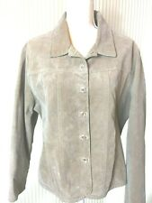Live a Little, Women's Suede Leather Jacket, Size XL, Tan, Button Front, Lined