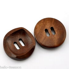 25 Hello Wood Sewing Buttons Coffee 2 Holes Round Concave 30mm