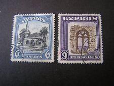 *CYPRUS, SCOTT # 132/133(2),6pi+9pi. VALUES 1934 KGV DEFINITIVE ISSUE USED