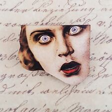 KiTsCh GoTh HORROR GIRL FACE SCARY DOLL WOODEN PRINTED BROOCH BADGE PIN 40mm
