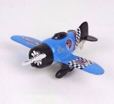 """Toy Blue Pre-WWII Military Aircraft Airplane Pull Back Action - 6"""" L"""
