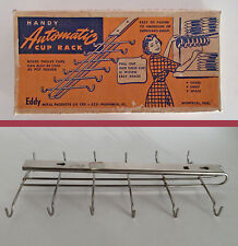 VINTAGE MCM RETRO AUTOMATIC SLIDING METAL 12 CUP MUG  RACK HOLDER 1950's BOXED