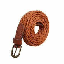 Women Belt Brief Knitted Candy Colors Rope Braid Brown Dress Accessories