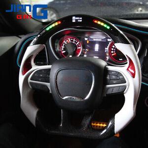 JiangGai LED/LCD Carbon Fiber Steering Wheel Fit Dodge Challenger Charger SRT