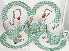 Disney Winnie the Pooh Dessert Plates Eeyore Tigger Piglet Coffee Mugs Lot of 7
