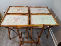 Set Of 4 Vtg Wooden Goose Design Tv Trays With Stand