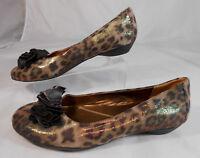 Naturalizer Haroldene Womens Ballet Flats Size 8 M Leopard Print Mock Bow Brown
