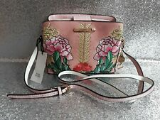 River Island Pink Green Floral Embroidered Faux Suede Bag Triple Compartment New