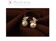 Women's Pearl And Rhinestone Flying Butterfly Stud Earrings Jewellery Gift UK