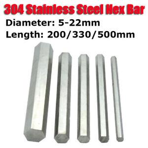 304 Stainless Steel Hex Bar Shaft Rod 200/330/500mm Long Spanner Diameter 5-22mm