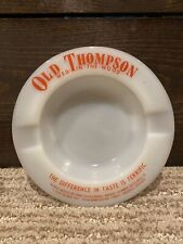 Vintage Old Thompson Blended Whisky Wed In The Wood Milk Glass Ashtray - 5.25�
