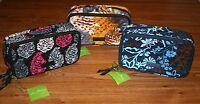 Vera Bradley BLUSH & BRUSH MAKEUP CASE travel large cosmetic bag 4 tote NEW