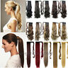 Mega Thick Clip In Ponytail Hair Extensions Straight Curly Wrap Pony Tail hg87