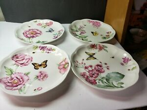 """VINTAGE LENOX BUTTERFLY MEADOW BLOOM SET OF 8"""" LUNCHEON PLATES"""
