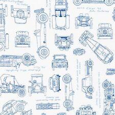 Tela de Robert Kaufman. planos en azul vintage, coches, Antigua. por la FQ