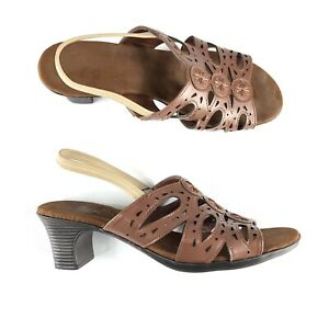 Sbicca Women Gabby Slingback Sandals Size 9 W Brown Thick Chunky Heel Open Toe