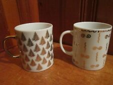 2 Centurion Collection Christmas Tree Holiday White Gold Porcelain Coffee Mugs