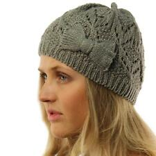 Ladies Girls Teens Winter Shimmer Ribbon Bow Knit Beanie Skull Hat Cap Ski Gray