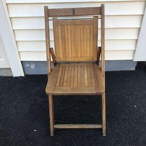 Vintage Wood Slat Folding Chair Stadium Auditorium Farmhouse Chic Maple Sturdy