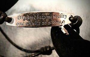 Dream's quote Bracelet Sterling Silver 925 & Leather with a tiny Star Charm
