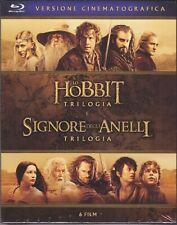 6 Blu ray Box Cofanetto Trilogia LO HOBBIT + SIGNORE DEGLI ANELLI completa nuovo