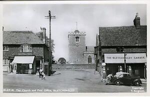 Vintage Photo Postcard Church & Post Office Bletchingley Surrey England  Unpost